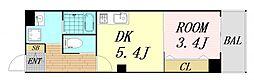 フェブライオ都島本通 8階1DKの間取り