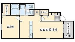 JR阪和線 日根野駅 徒歩21分の賃貸アパート 1階1LDKの間取り