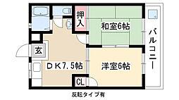 愛知県日進市梅森台1丁目の賃貸アパートの間取り