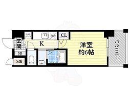 JR大阪環状線 今宮駅 徒歩6分の賃貸マンション 4階1Kの間取り