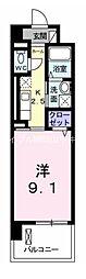 JR宇野線 備前西市駅 徒歩33分の賃貸マンション 4階1Kの間取り