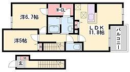 JR姫新線 播磨高岡駅 徒歩19分の賃貸アパート 2階2LDKの間取り