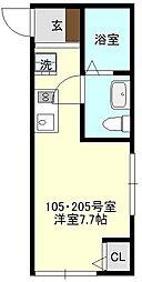 ブライトヒルズ横浜諏訪坂[205号室号室]の間取り