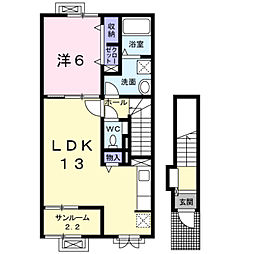 小月西の台アパート[2階]の間取り