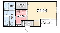 阪神本線 武庫川駅 徒歩3分の賃貸マンション 2階1Kの間取り
