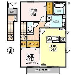 埼玉県新座市西堀2丁目の賃貸アパートの間取り