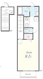 小田急江ノ島線 六会日大前駅 徒歩5分の賃貸アパート 2階ワンルームの間取り