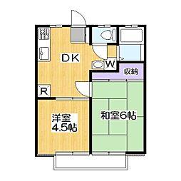 埼玉県草加市稲荷4丁目の賃貸アパートの間取り