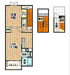 福岡県北九州市八幡西区穴生4丁目の賃貸アパートの間取り