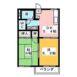KMハイツA[2階]の間取り