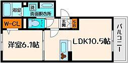 メゾン・ド・アンジュ 1階1LDKの間取り