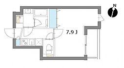東急多摩川線 矢口渡駅 徒歩7分の賃貸マンション 2階1Kの間取り