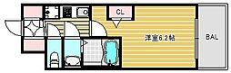 エステムコートディアシティウエスト 9階1Kの間取り