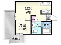 JR東海道・山陽本線 西大路駅 徒歩7分の賃貸マンション 2階1LDKの間取り