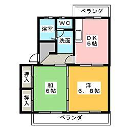パレス小長井[2階]の間取り