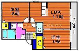 岡山県倉敷市大内丁目なしの賃貸アパートの間取り