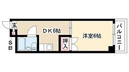 愛知県名古屋市昭和区桜山5丁目の賃貸マンションの間取り