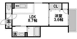 エフミライアルバ 1階1LDKの間取り