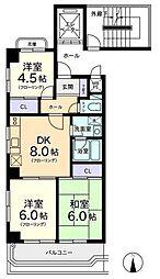 東京都国立市東1丁目の賃貸マンションの間取り