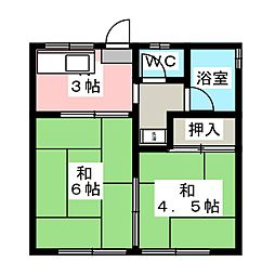 コーポワンウォークI[2階]の間取り