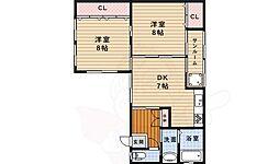 阪急宝塚本線 池田駅 徒歩13分の賃貸一戸建て 1階2DKの間取り