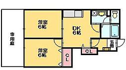 上野ハイツ2号館[1階]の間取り
