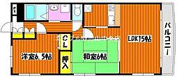 カサブランカ奥田[1階]の間取り