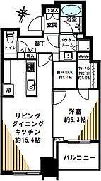 大崎ウエストシティタワーズ 34階1LDKの間取り