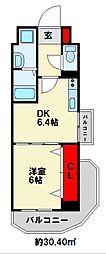 コンフォートスクエア安部山 6階1DKの間取り