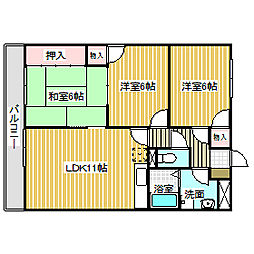 愛知県名古屋市港区宝神3丁目の賃貸マンションの間取り