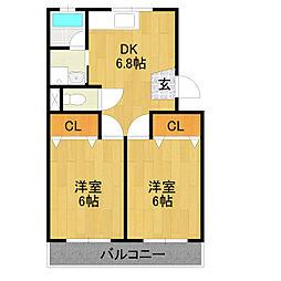 愛知県名古屋市中川区高杉町の賃貸マンションの間取り