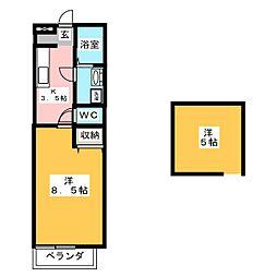 ハウスフォーC[1階]の間取り