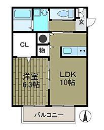 ジャスティス2[2階]の間取り