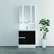 シックな木目調扉が美しい洗面化粧台。引き出して使える便利なマルチシングルレバー水栓で、お掃除ラクラク