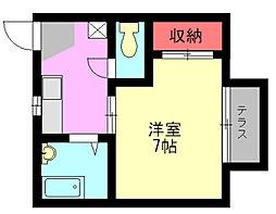 福岡県北九州市八幡西区東鳴水3丁目の賃貸アパートの間取り