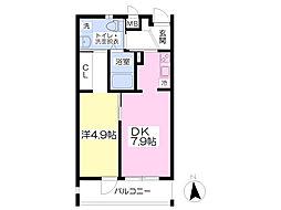 熊本電気鉄道 堀川駅 徒歩5分の賃貸マンション 2階1DKの間取り