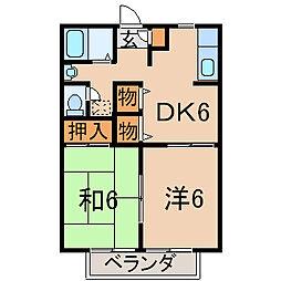 福島県福島市丸子字沢目の賃貸アパートの間取り