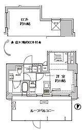 ディアレイシャス菊川 9階ワンルームの間取り