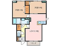 三重県松阪市久保町の賃貸アパートの間取り
