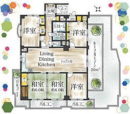 広々110平米の住空間。ワンフロア1邸の角部屋、ルーフガーデン付のお部屋です。