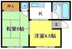 喜連西第二コーポ[3階]の間取り