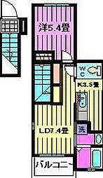 埼玉県川口市江戸3丁目の賃貸アパートの間取り