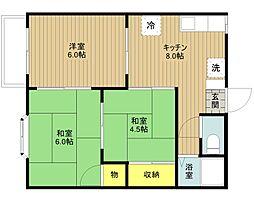 アーバーハウス松江[102号室]の間取り