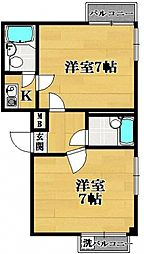 松原マンションカワ[2階]の間取り