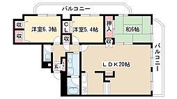 愛知県名古屋市昭和区山手通3丁目の賃貸マンションの間取り