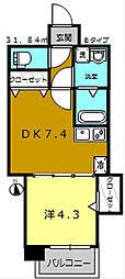 KMレジデンス堺東駅前[602号室]の間取り