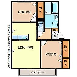 ラフィネU A棟[1階]の間取り