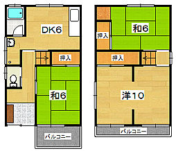 [一戸建] 大阪府枚方市東山1丁目 の賃貸【/】の間取り