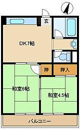 エメラルド武庫之荘[2階]の間取り