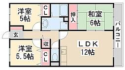 春荘館花水木[3階]の間取り